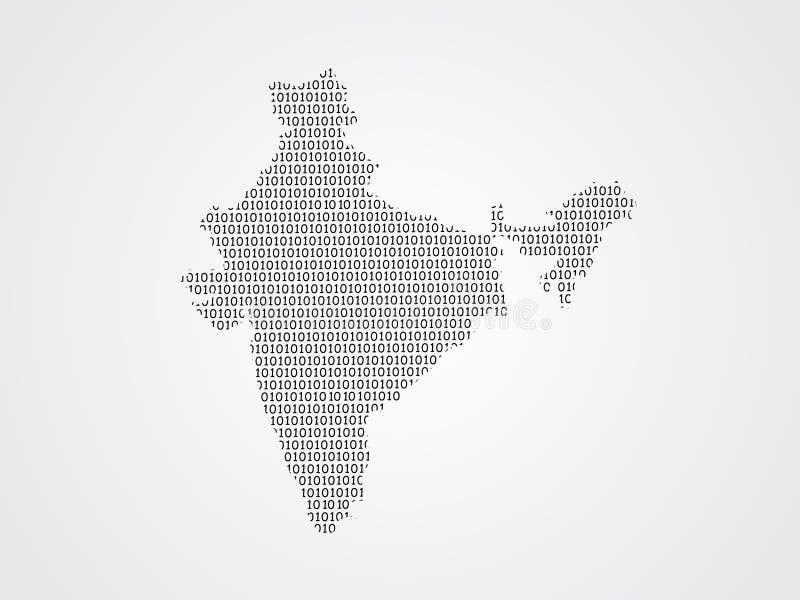 Иллюстрация карты вектора Индии используя бинарные коды на белой предпосылке для того чтобы значить выдвижение цифровой технологи иллюстрация вектора