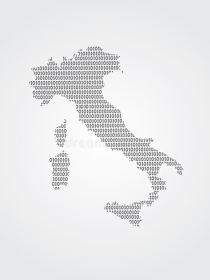 Иллюстрация карты вектора Италии используя бинарные коды на белой предпосылке для того чтобы значить выдвижение цифровой технолог иллюстрация штока