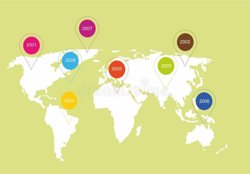 Иллюстрация карты мира Карта мира с отметками стоковая фотография
