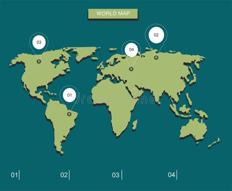 Иллюстрация карты мира Карта мира с отметками стоковые фотографии rf