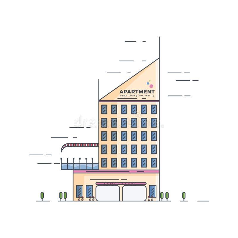 Иллюстрация квартиры гостиницы с ровными цветами стоковое изображение rf