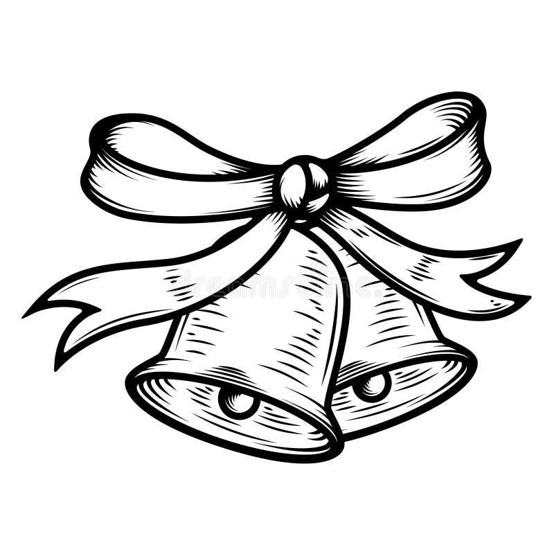 Иллюстрация колоколов рождества на белой предпосылке Конструируйте элементы для плаката, карточки, знамени бесплатная иллюстрация