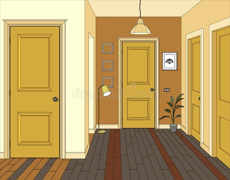 Иллюстрация комнаты с желтыми дверями Интерьер комнаты с мебелью Прихожая иллюстрации иллюстрация вектора