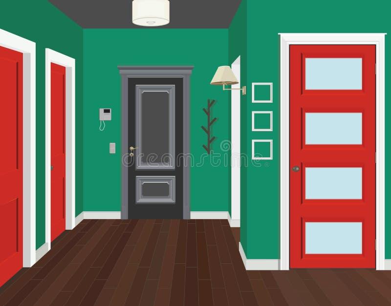 Иллюстрация комнаты с красными дверями Интерьер комнаты с мебелью Прихожая иллюстрации иллюстрация вектора