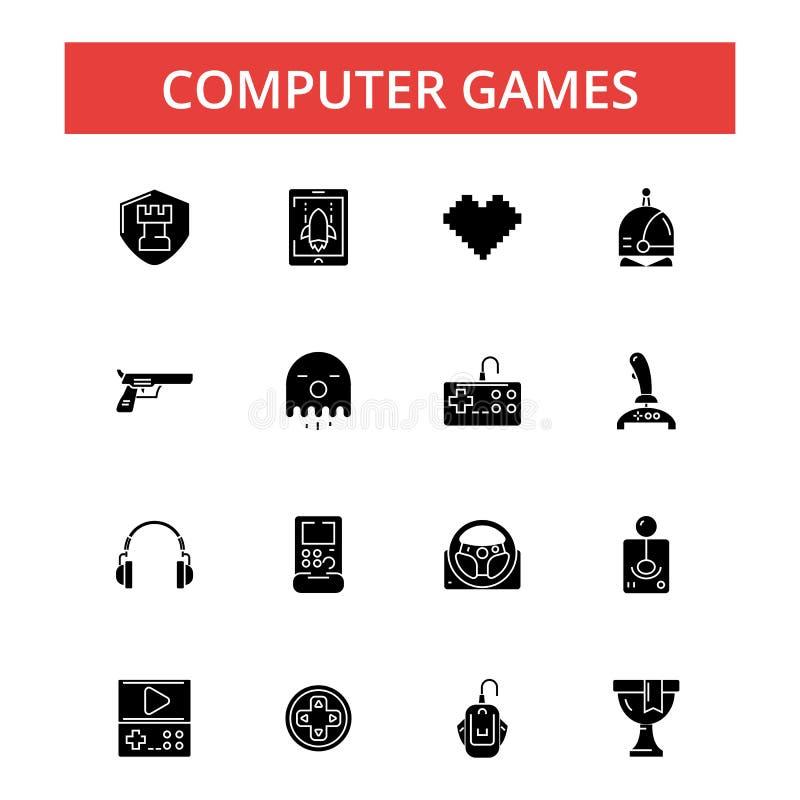 Иллюстрация компютерных игр, тонкая линия значки, линейные плоские знаки иллюстрация вектора