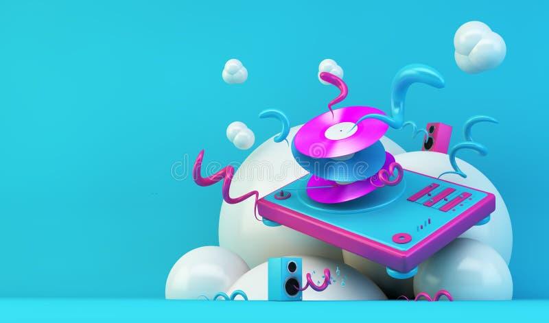 Иллюстрация конспекта turntable DJ иллюстрация вектора
