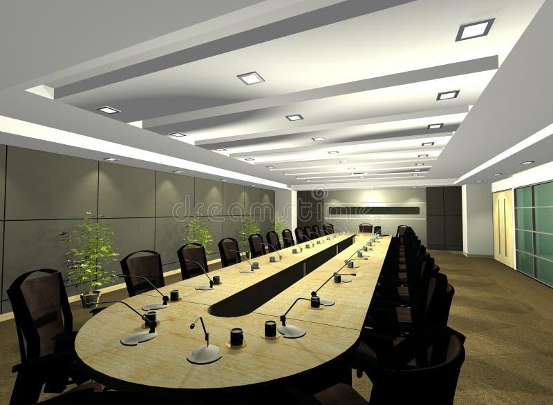 иллюстрация конференции компьютера 3d представляет комнату стоковая фотография