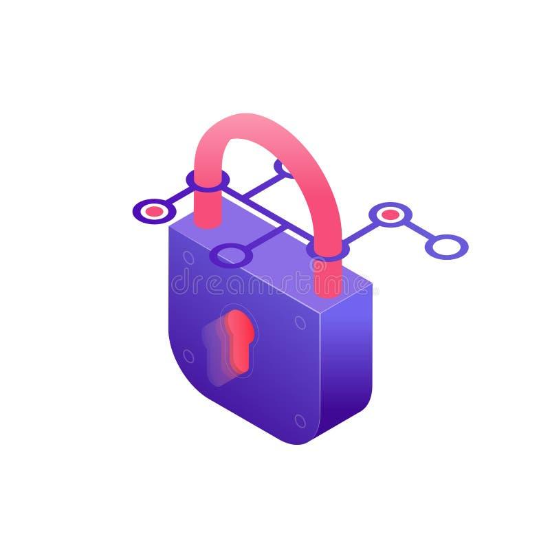 Иллюстрация концепции безопасностью кибер в дизайне 3d Защита секретности пароля Padlock, данных и в равновеликом дизайне изолиро иллюстрация вектора