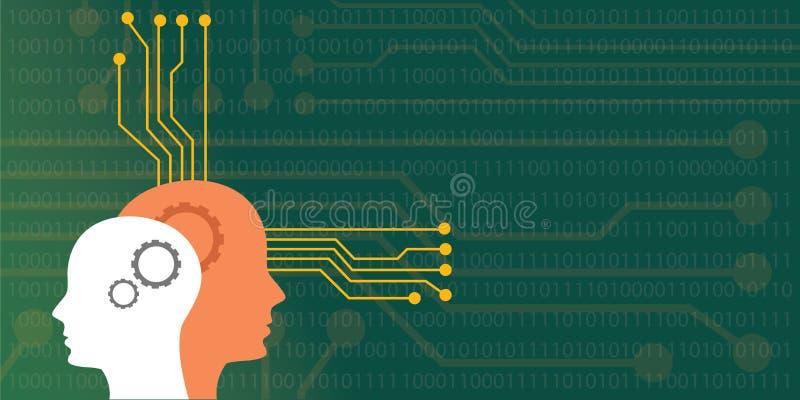 Иллюстрация концепции искусственного интеллекта с головным человеческим роботом с нейро системой доски иллюстрация штока