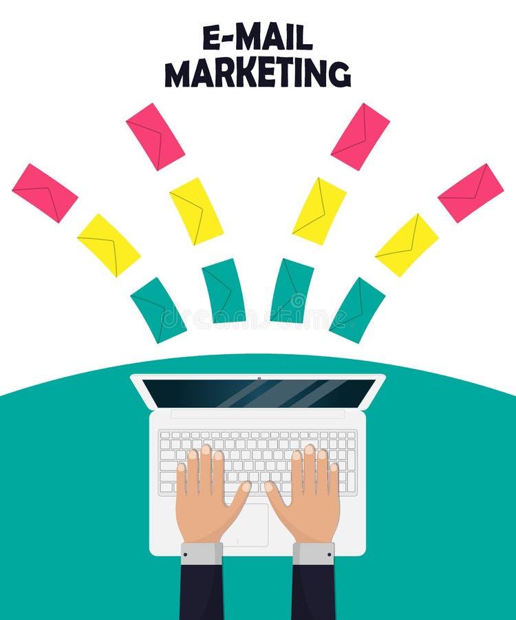 Иллюстрация концепции маркетинга электронной почты в плоском стиле Посылающ или получающ компьтер-книжку электронной почты, руки  бесплатная иллюстрация