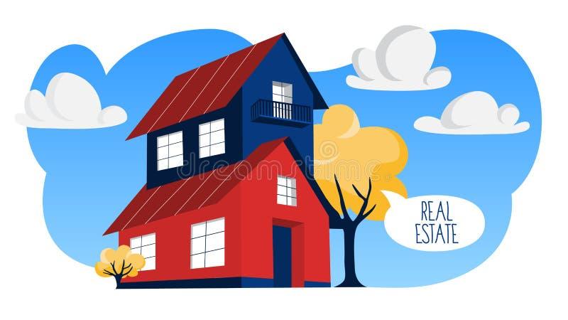 Иллюстрация концепции недвижимости Свойство Bying и продавать иллюстрация штока