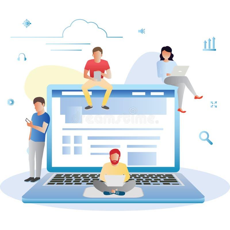 Иллюстрация концепции социального вебсайта сети занимаясь серфингом молодых людей используя мобильные устройства как smarthone, П бесплатная иллюстрация