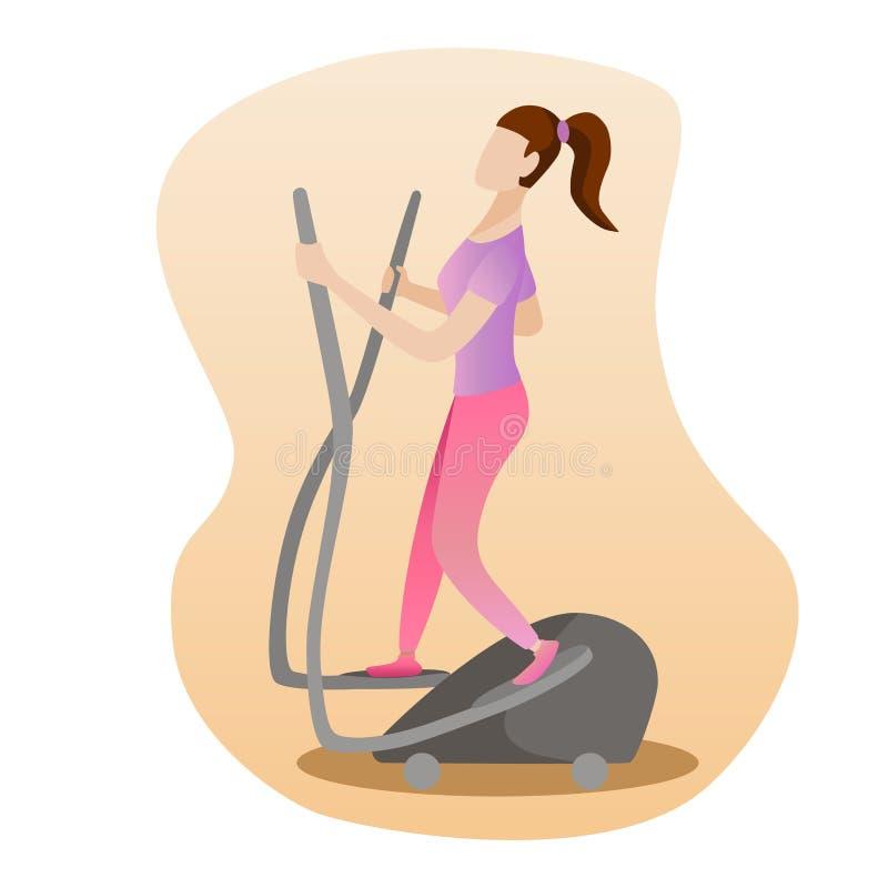 Иллюстрация концепции фитнеса женщины бежать на эллиптической машине бесплатная иллюстрация