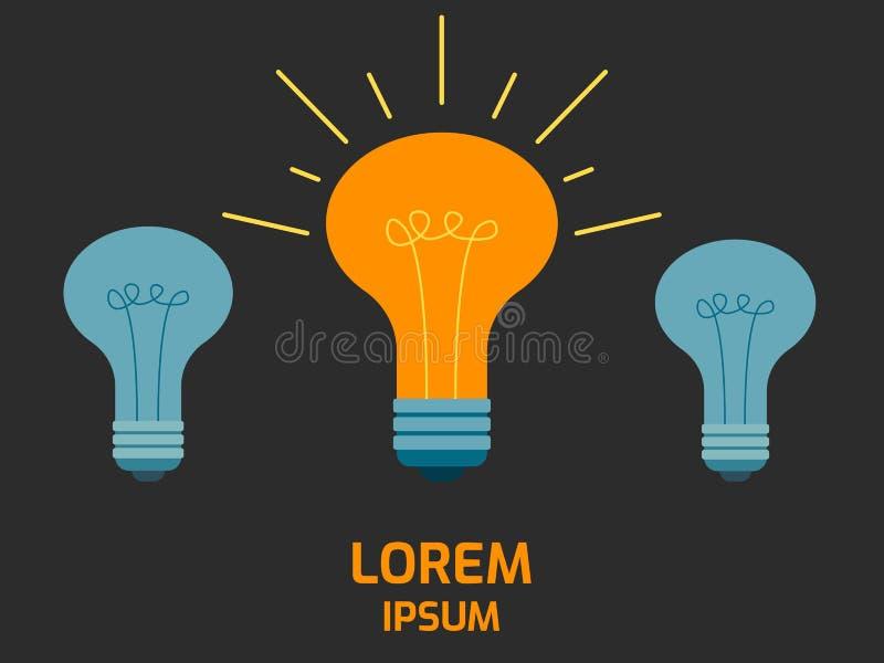 Иллюстрация концепции электрической лампочки цвета дерева стоковая фотография rf