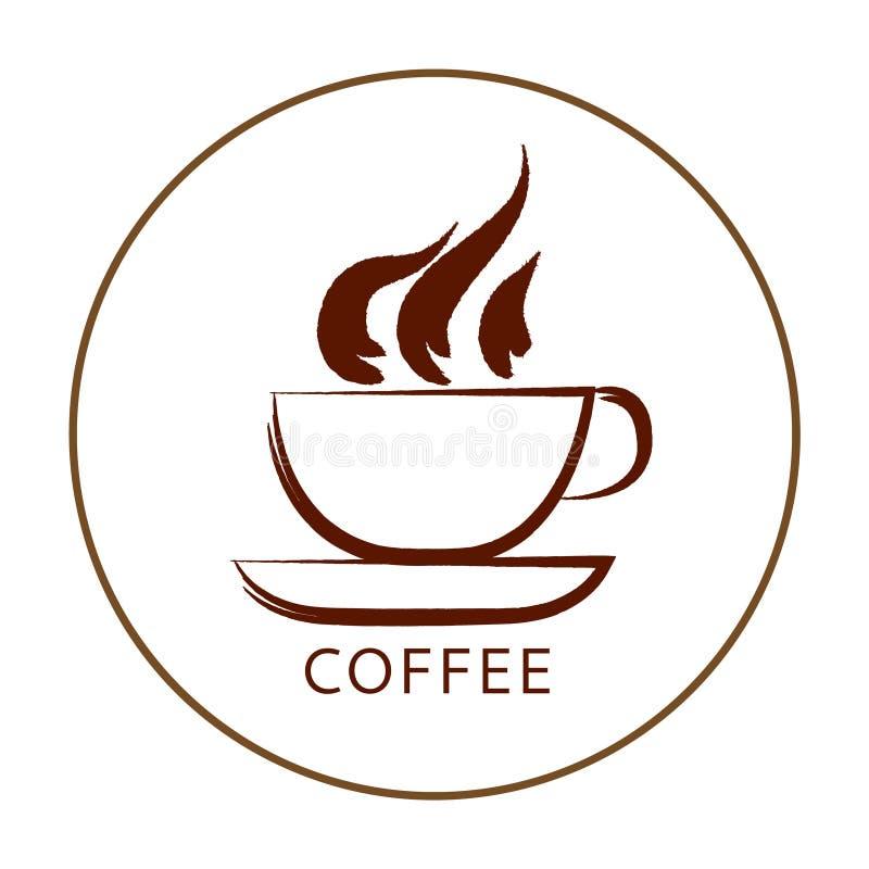 Иллюстрация коричневой кофейной чашки изолированной на белой предпосылке C иллюстрация штока