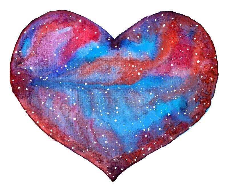 Иллюстрация космоса сердца с сине-розовой галактикой иллюстрация штока
