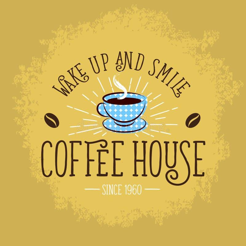 иллюстрация кофе Плакат кофе Винтажный знак с чашкой и кофейным зерном иллюстрация вектора