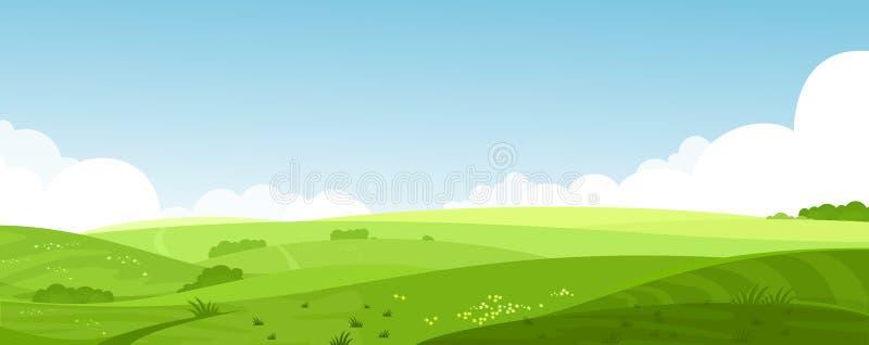 Иллюстрация красивого ландшафта полей лета с рассветом, зеленые холмы вектора, небо яркого цвета голубое, страна иллюстрация штока