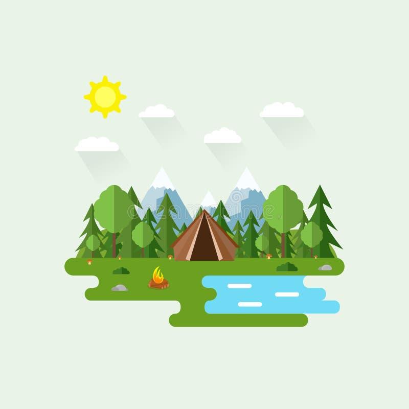 Иллюстрация красивой сцены леса Ландшафт лета в плоском стиле день солнечный Справочная информация Шатер, грибы, деревья, камни,  иллюстрация штока