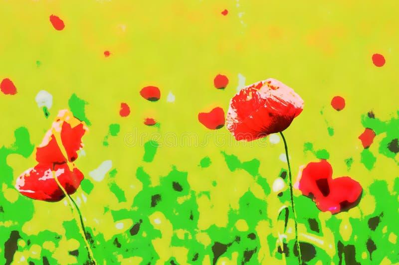 Иллюстрация красных маков в поле стоковые изображения rf