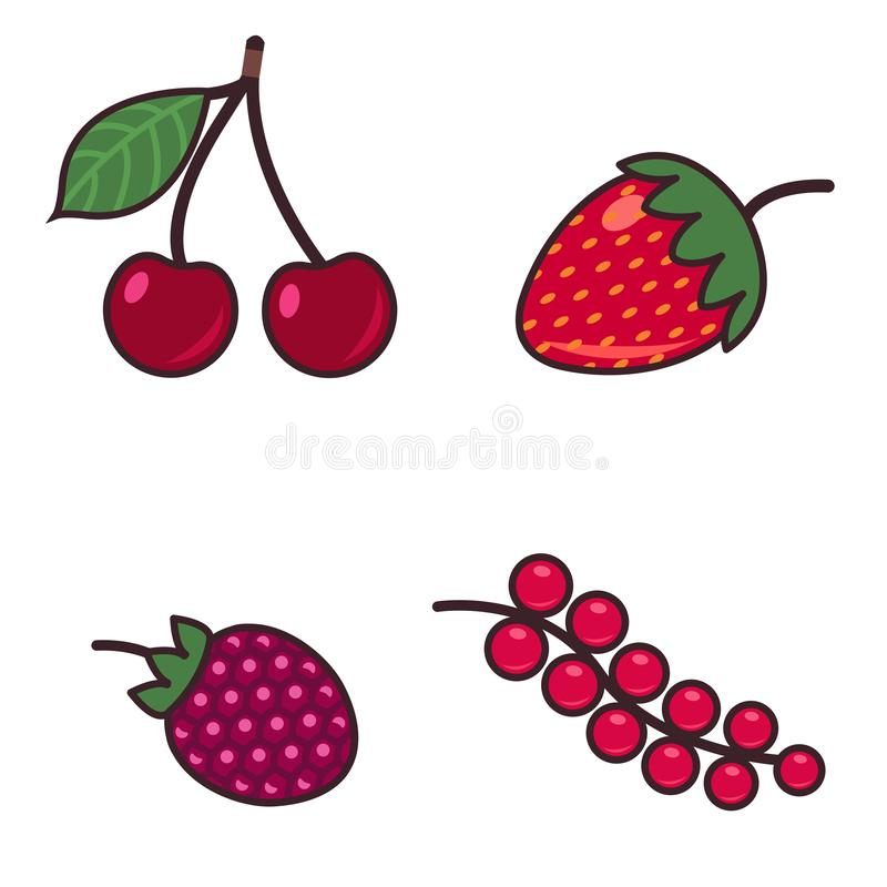 Иллюстрация красочного мультфильма установленная различных видов ягод Изолировано на белизне бесплатная иллюстрация