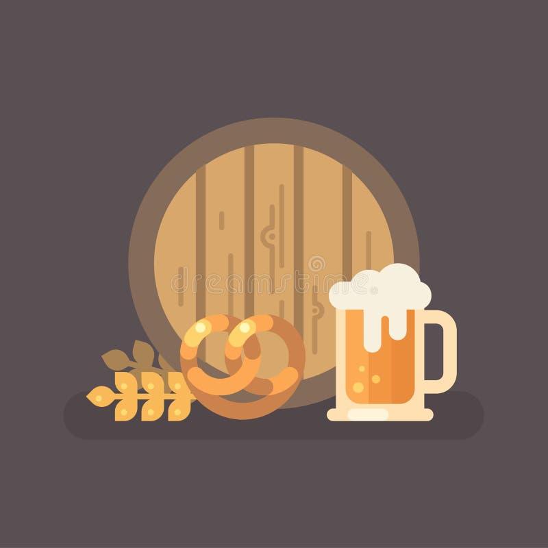Иллюстрация кружки бочонка пива, кренделя, пшеницы и пива иллюстрация штока