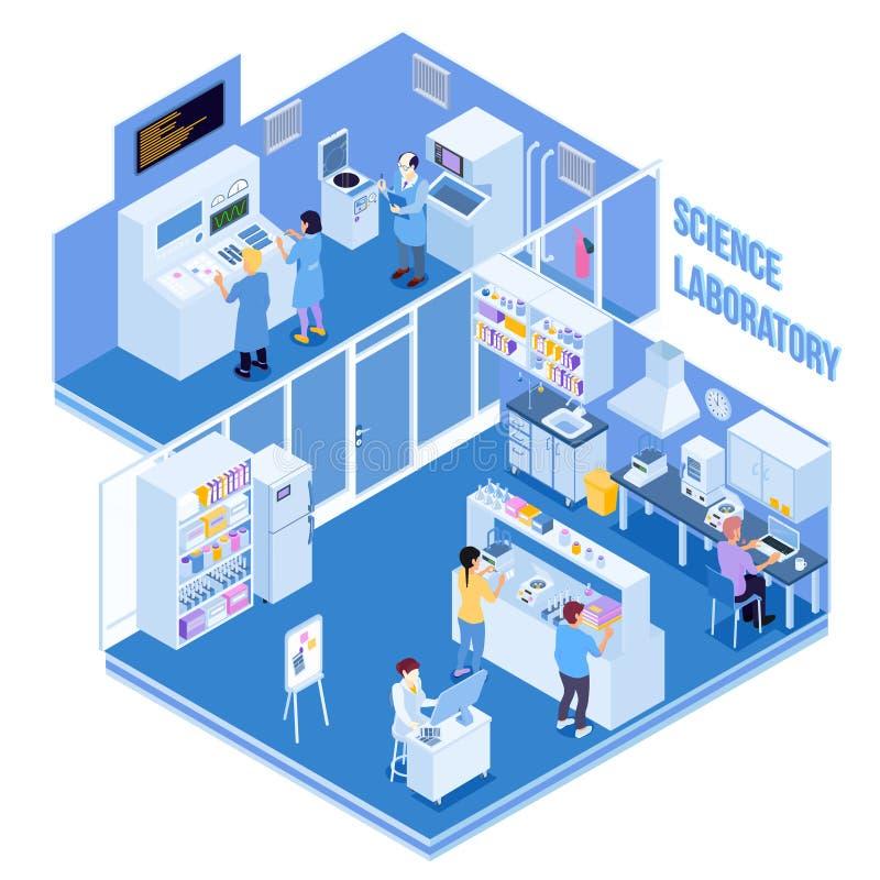 Иллюстрация лаборатории науки равновеликая иллюстрация вектора