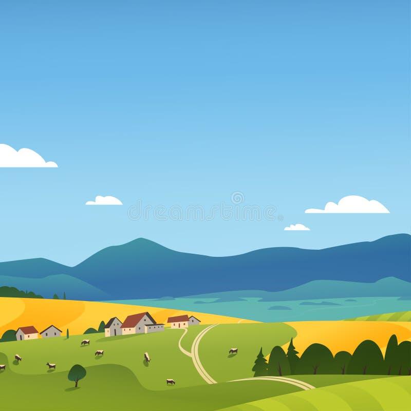 Иллюстрация ландшафта вектора плоская взгляда природы сельской местности лета: небо, горы, уютные дома в деревне, коровы, поля и  иллюстрация штока