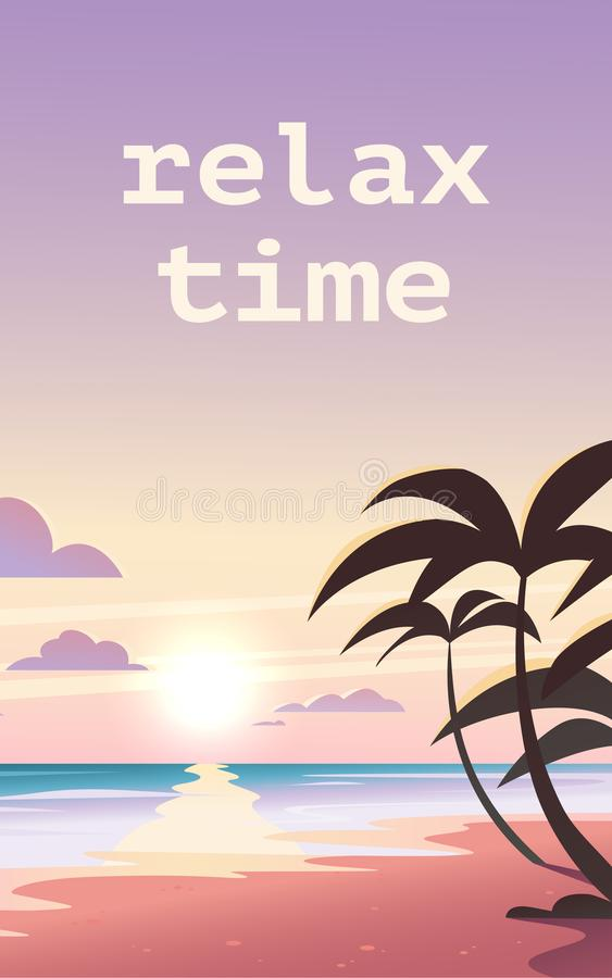 Иллюстрация ландшафта вектора плоская дикого захода солнца лета природы на взгляде пляжа с небом, морским побережьем, океаном, па бесплатная иллюстрация