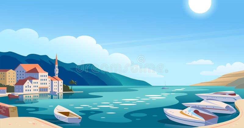 Иллюстрация ландшафта вектора плоская красивого взгляда природы: небо, горы, вода, уютные европейские таунхаусы на морском побере иллюстрация штока