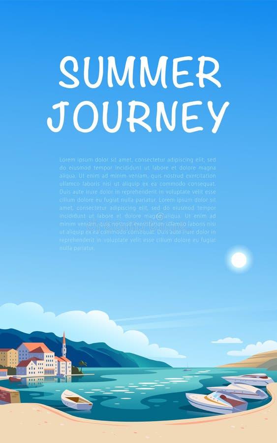 Иллюстрация ландшафта вектора плоская красивого взгляда природы: небо, горы, вода, уютные европейские таунхаусы на морском побере бесплатная иллюстрация
