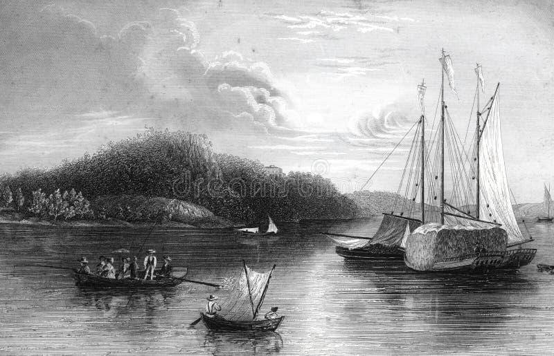 Иллюстрация ландшафта реки Weehawken Нью-Джерси иллюстрация вектора