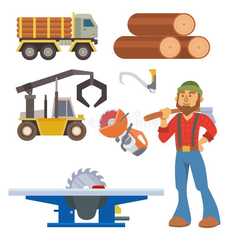 Иллюстрация леса тимберса машины пиломатериала оборудования характера woodcutter лесопилки внося в журнал промышленная деревянная иллюстрация штока