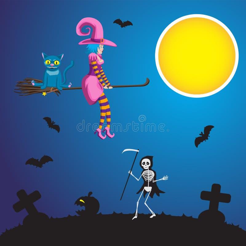 Иллюстрация летания ведьмы хеллоуина молодого на broomstick с тыквой кота и скелетом с косой идя через иллюстрация штока
