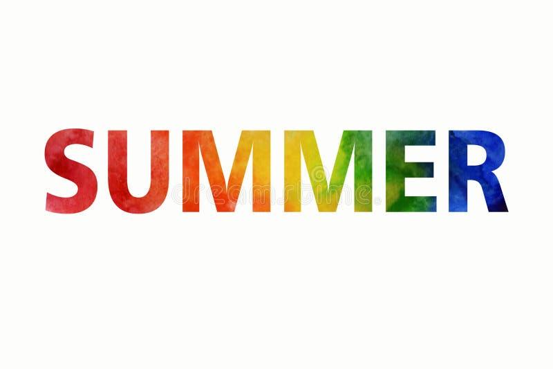 Иллюстрация лета акварели Покрашенное вручную лето надписи радуги бесплатная иллюстрация
