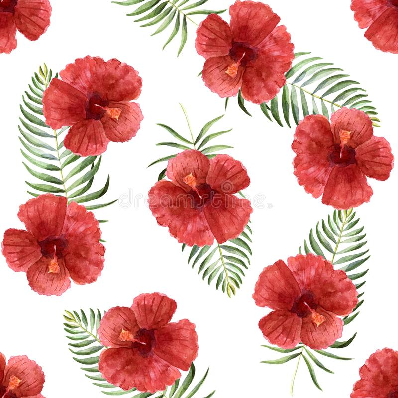 Иллюстрация лета акварели яркая с тропическими цветками иллюстрация вектора