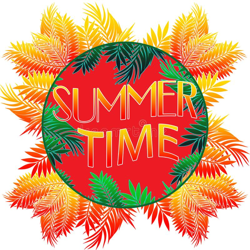 Иллюстрация лета Фраза плаката лета Изображение искусства лета Рукописное знамя, логотип моды или ярлык Красочная рука вычерченны бесплатная иллюстрация