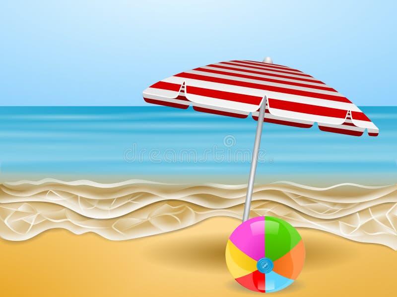 Иллюстрация летних отпусков: зонтик и красочный воздушный шар на пляже иллюстрация штока