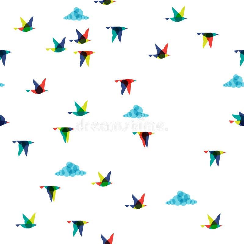 Иллюстрация летящих птиц весны, безшовная, бесплатная иллюстрация