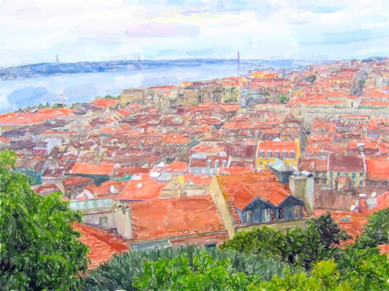 Иллюстрация Лиссабона Вид с воздуха над районами Baixa Chiado до Belem с мосто иллюстрация штока