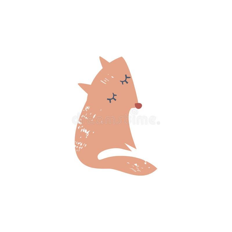 Иллюстрация лисы милой руки вычерченная, славное животное, житель леса Изолированный вектор иллюстрация вектора