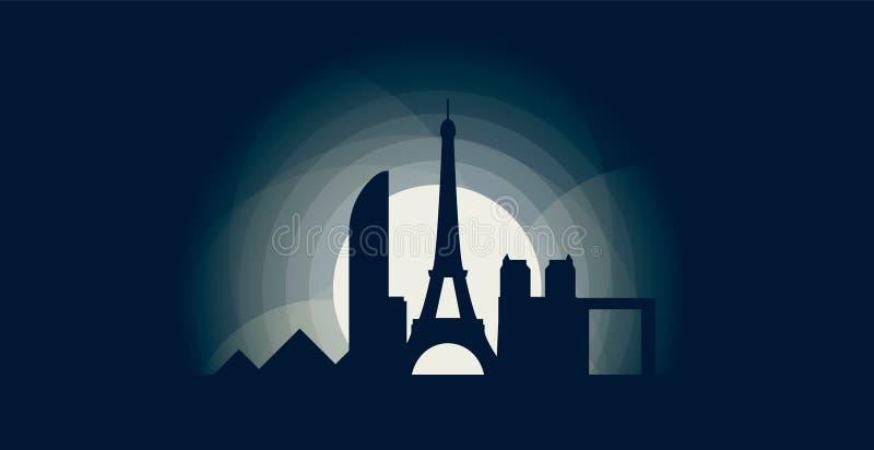 Иллюстрация логотипа вектора силуэта горизонта города Парижа иллюстрация вектора