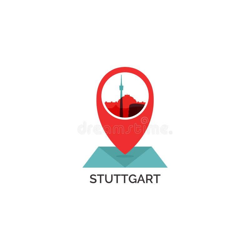 Иллюстрация логотипа вектора силуэта горизонта города Штутгарта иллюстрация вектора