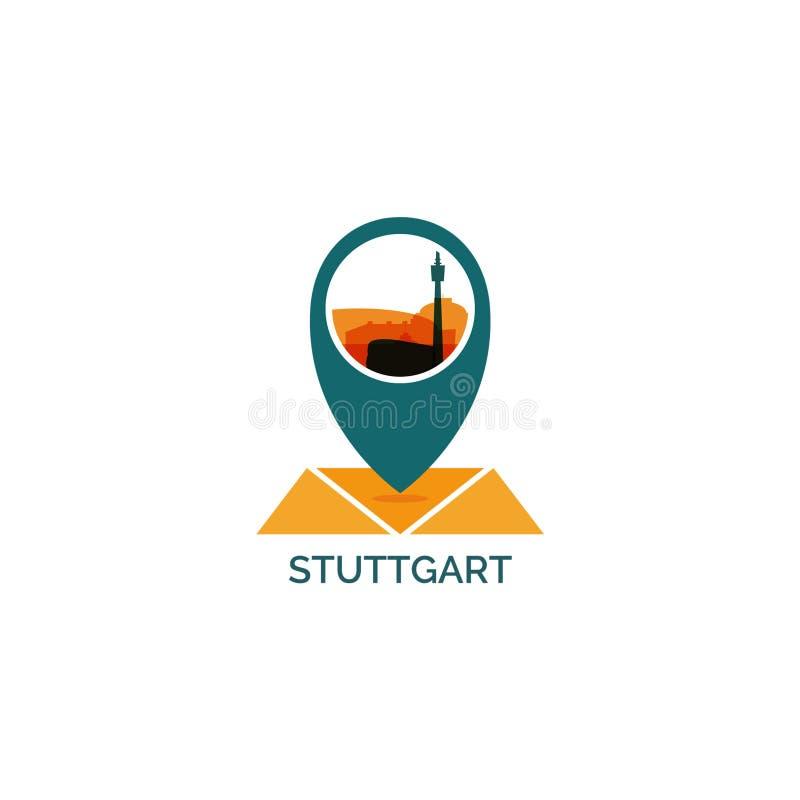 Иллюстрация логотипа вектора силуэта горизонта города Штутгарта бесплатная иллюстрация