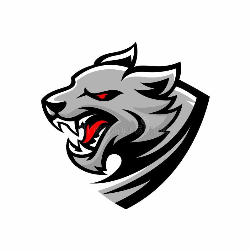 Иллюстрация логотипа волка треугольника сердитая иллюстрация вектора