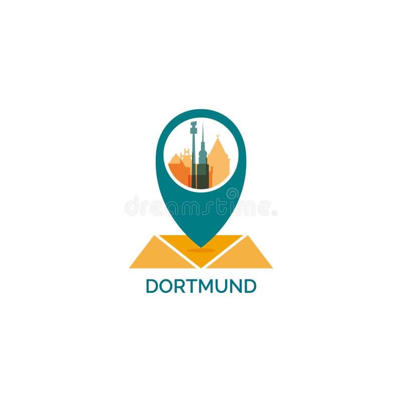 Иллюстрация логотипа горизонта города Дортмунда холодная иллюстрация вектора