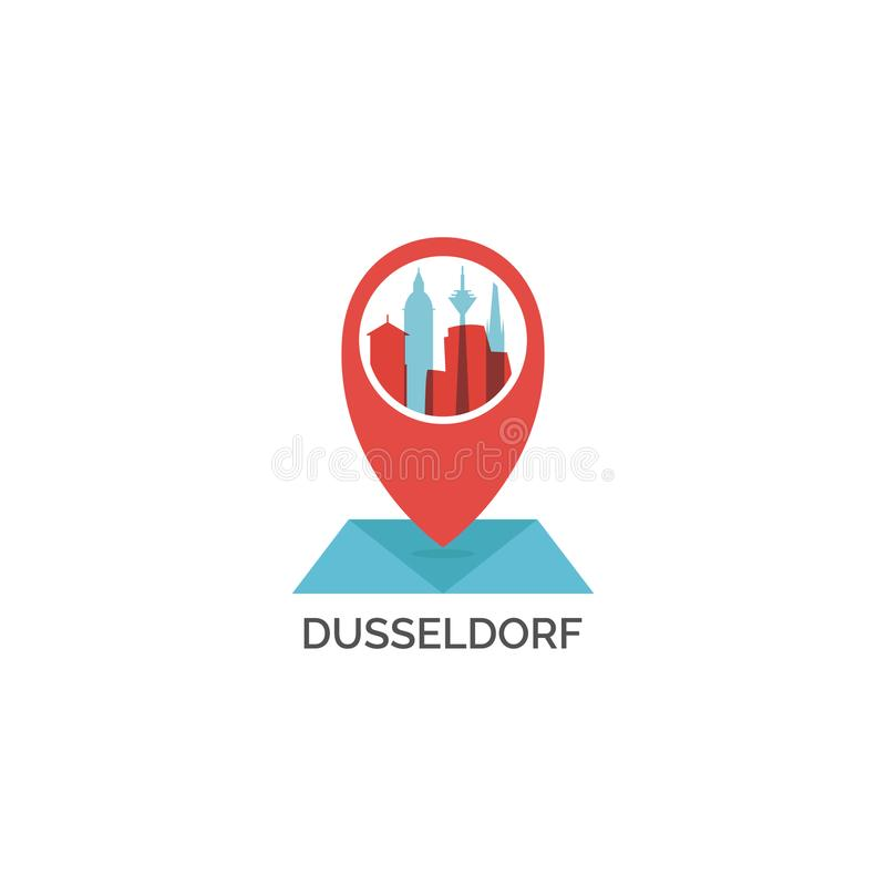 Иллюстрация логотипа горизонта города Дюссельдорфа холодная бесплатная иллюстрация