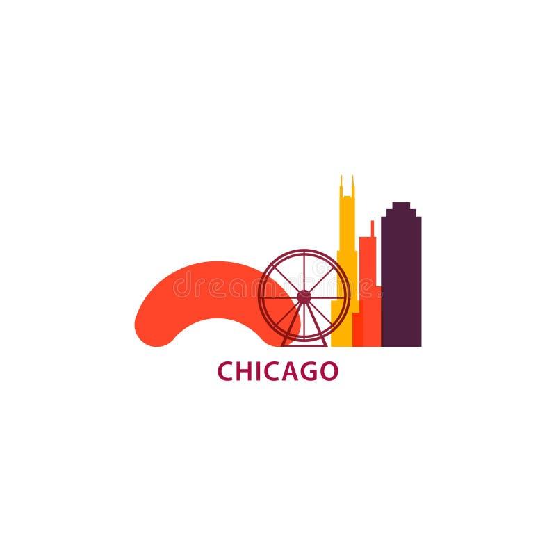 Иллюстрация логотипа горизонта города Чикаго холодная бесплатная иллюстрация