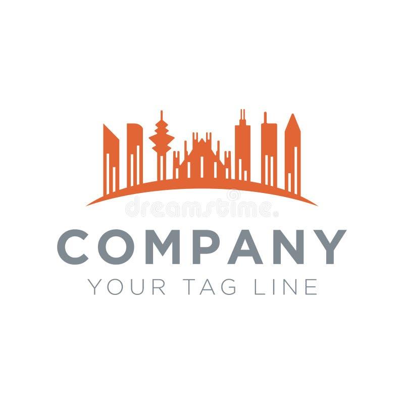 Иллюстрация логотипа города с высокорослой пиковой башней иллюстрация вектора