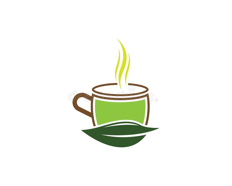 Иллюстрация логотипа зеленого чая иллюстрация штока